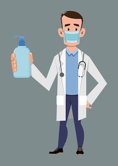 Médico usar máscara facial e mostrar garrafa desinfetante para as mãos