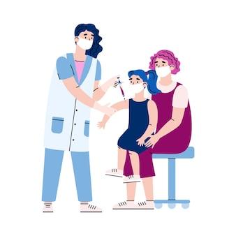 Médico vacina uma criança que se senta no colo da mãe isolada