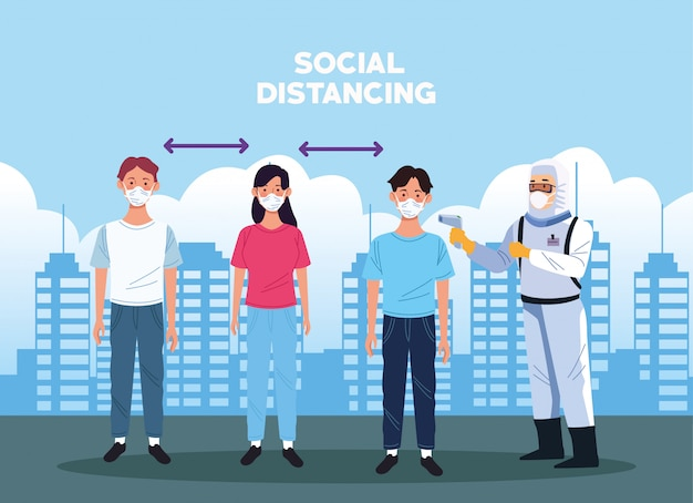 Médico, verificação de temperatura e distância social