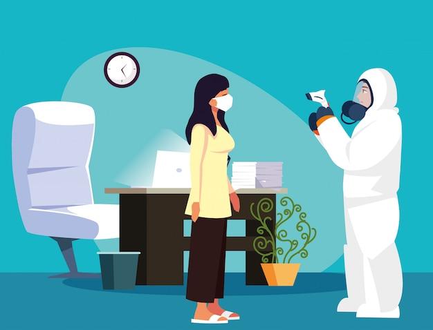 Médico, verificando a temperatura da mulher em casa vector design