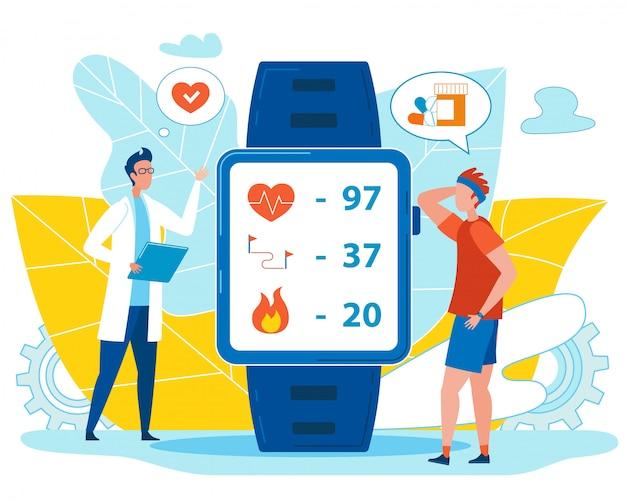 Médico verificar indicadores de saúde no relógio inteligente
