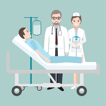 Médico, verificar, paciente, cama hospitalar, com, um, conta gota