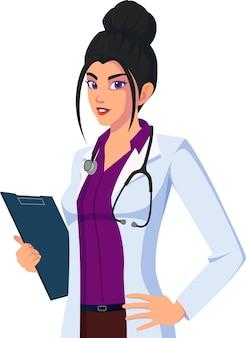 Médico vestindo jaleco e segurando uma ilustração de pastas