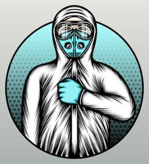 Médico vestindo terno de materiais perigosos.