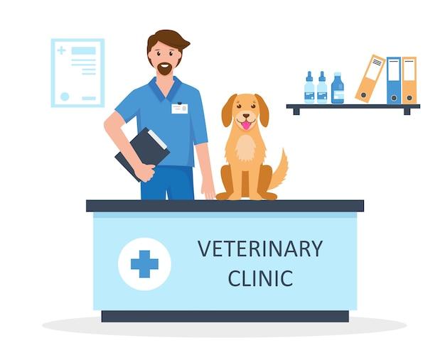Médico veterinário com cachorro em clínica veterinária