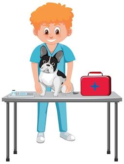Médico veterinário e cachorro em fundo branco