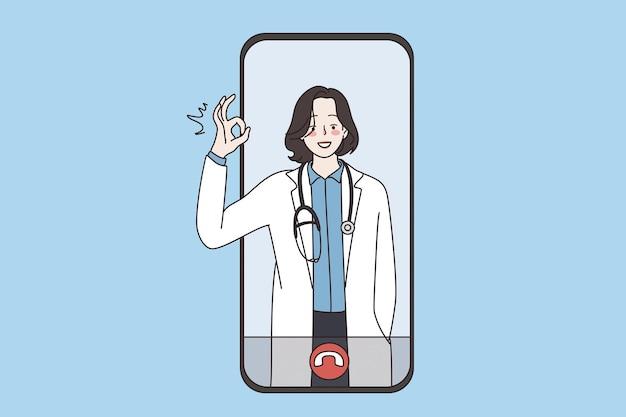 Médico virtual e conceito de saúde online