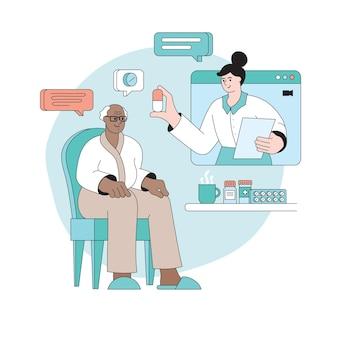 Médico visita online conceito de telessaúde consulta médica remota ao paciente