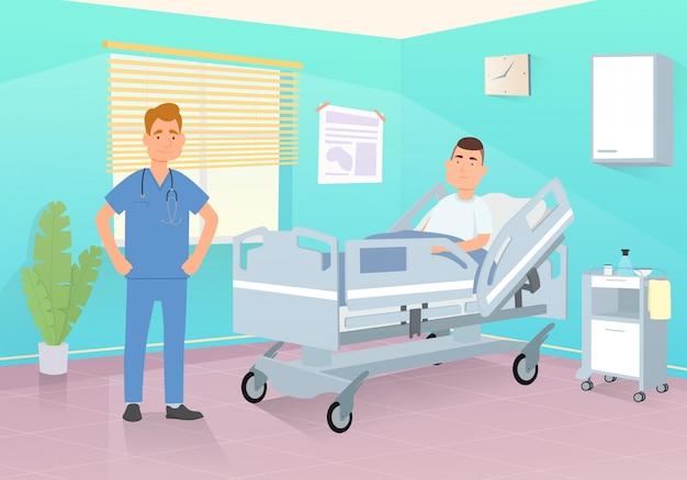 Médico visita um paciente em um quarto de hospital.