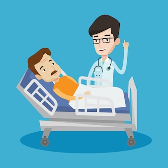 Médico, visitando a ilustração do paciente.