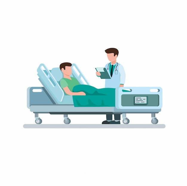 Médico visitante e explica o diagnóstico da doença na ilustração plana dos desenhos animados, isolada no fundo branco