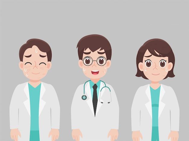 Médicos cansados solicitam que as pessoas fiquem em casa, com rugas no rosto