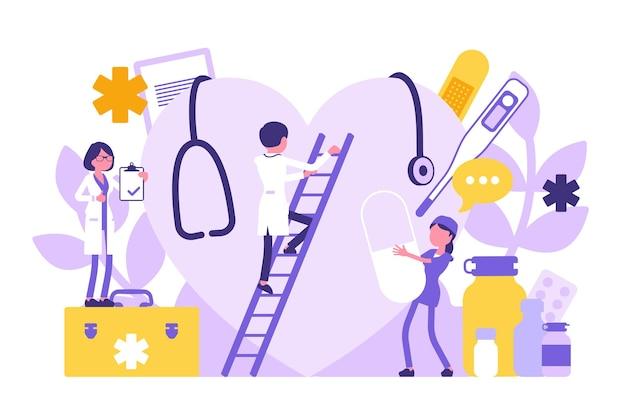 Médicos, clínicos gerais trabalhando. exame clínico profissional de coração gigante, equipamento hospitalar e ferramentas. conceito de medicina e saúde. ilustração vetorial com personagens sem rosto