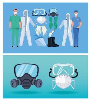 Médicos com elementos de equipamento de biossegurança para proteção covid19