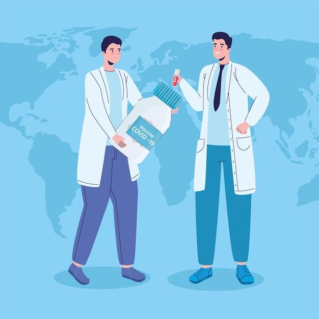 Médicos com frasco de vacina de vírus na ilustração do planeta terra