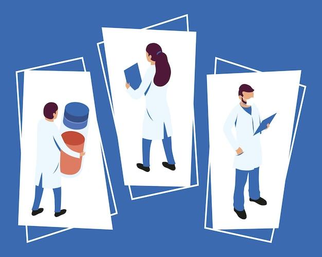 Médicos com ícones médicos