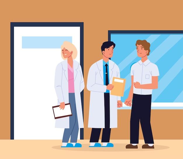 Médicos com paciente masculino