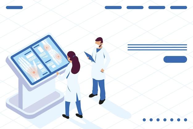 Médicos com resultados de raio-x