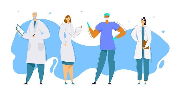 Médicos com robe médico com estetoscópio