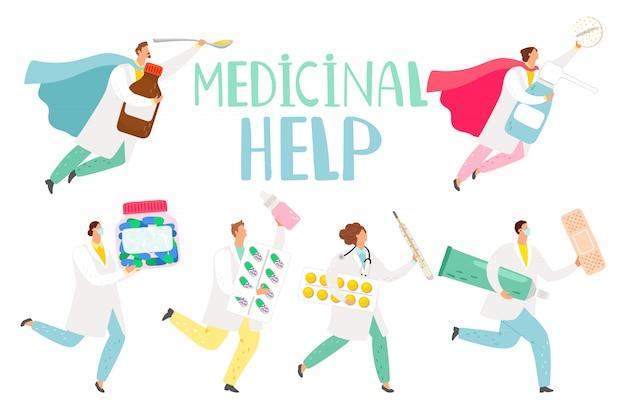 Médicos como ilustração de super-heróis