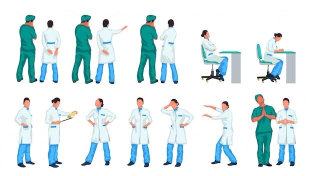 Médicos conjunto colorido