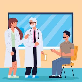 Médicos consultam um paciente