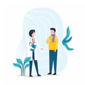 Médicos conversam com um paciente