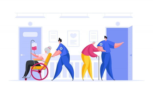Médicos cuidando de pacientes idosos