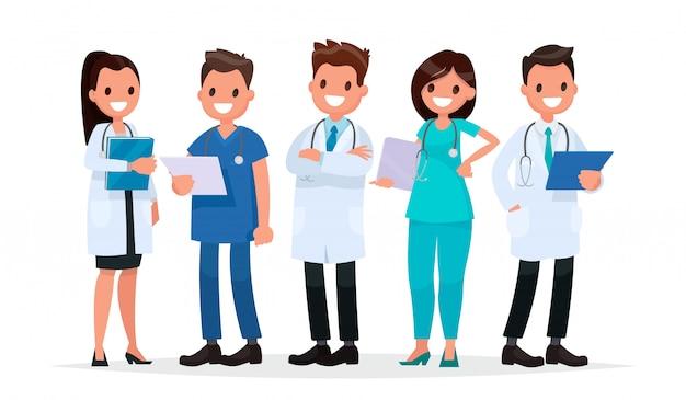 Médicos da equipe em um fundo branco. ilustração vetorial em um estilo simples