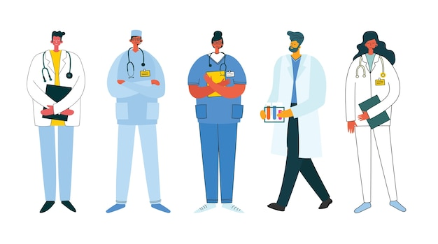 Médicos da equipe em um fundo branco.