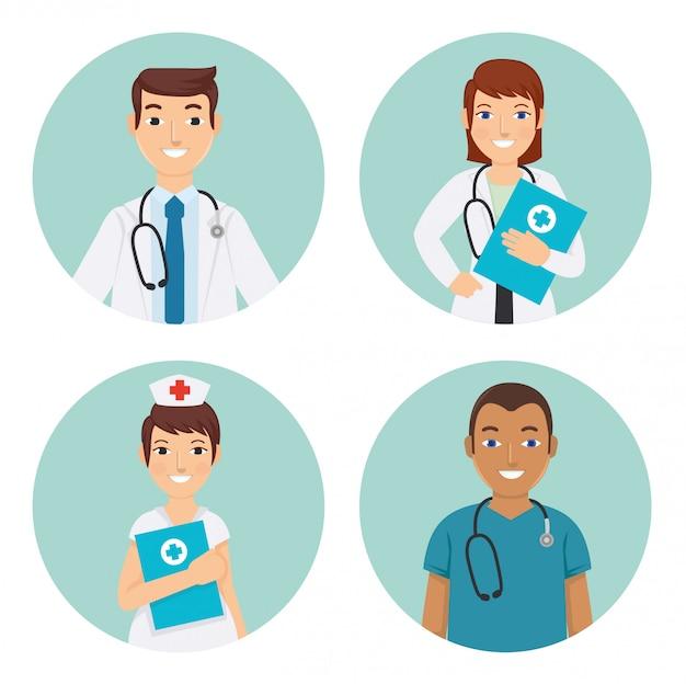 Médicos da equipe médica e enfermeiros no hospital