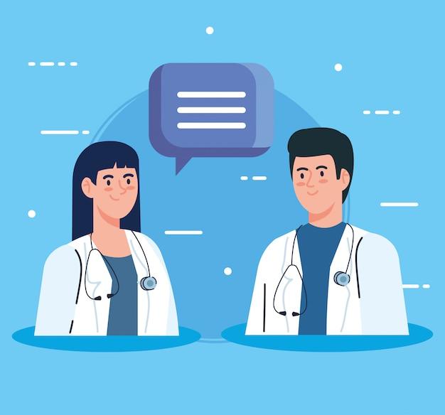Médicos de casal com estetoscópio e bolha do discurso