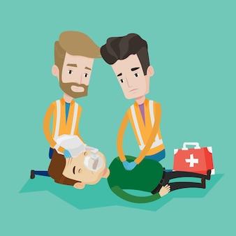 Médicos de emergência, carregando o homem na maca.