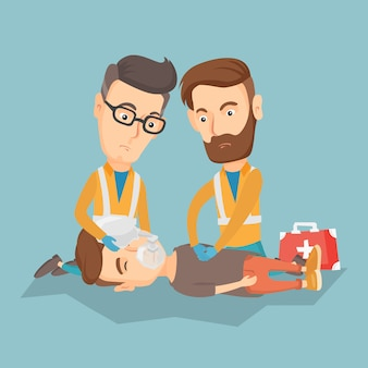 Médicos de emergência carregando o homem na maca.