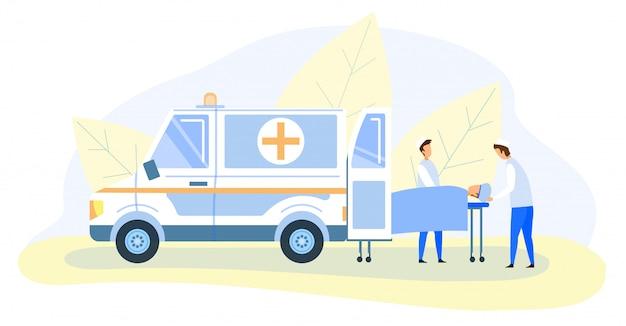 Médicos de emergência, transportando a vítima na maca