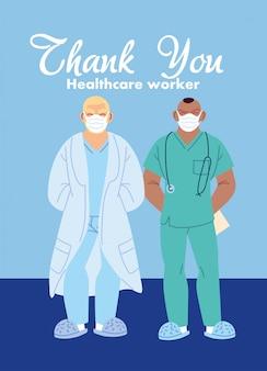 Médicos de homens com máscaras de design de cuidados médicos e tema de vírus 19 secreto