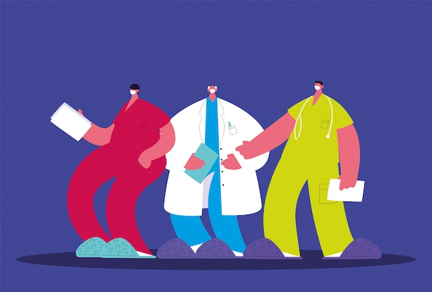Médicos de homens em pé, equipe médica