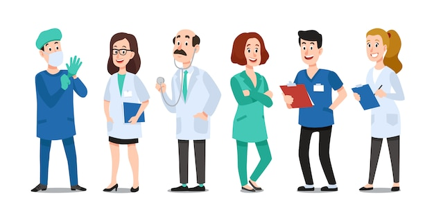Médicos de medicina. médico, enfermeira do hospital e médico com estetoscópio. trabalhadores de saúde médico cartum conjunto de caracteres