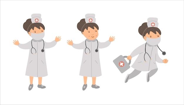 Médicos de mulher de vetor com chapéu médico e máscara com estetoscópio. hospital engraçado bonito, clínica ou personagem de serviço de emergência. imagens de medicamentos para crianças. conjunto de ícones de saúde