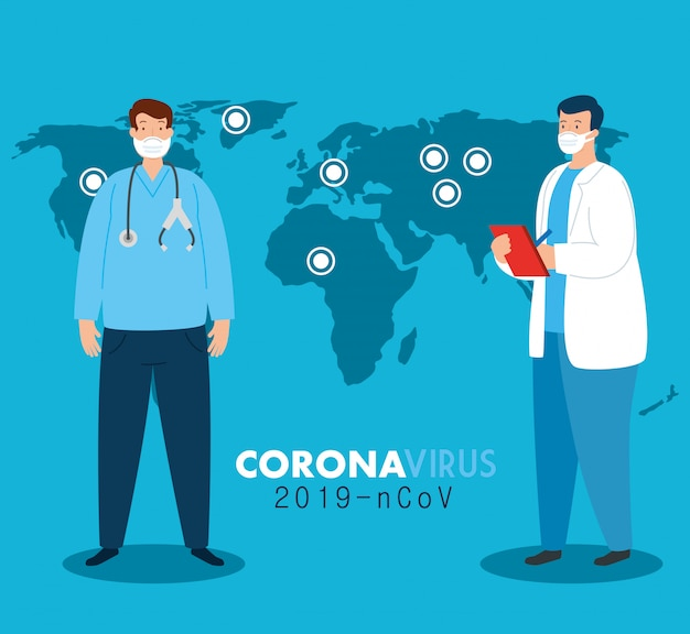 Médicos de todo o mundo vestindo máscara facial lutando por coronavírus, covid 19 no projeto de ilustração de mapa do mundo