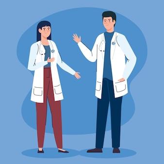 Médicos do casal com caráter de avatar estetoscópio