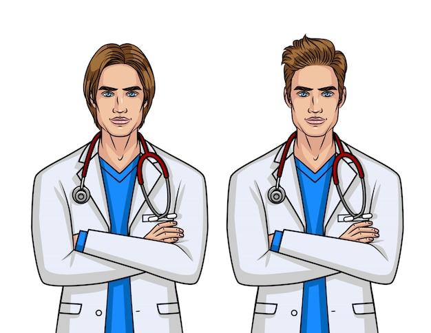 Médicos do sexo masculino com penteado diferente