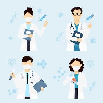 Médicos e cientista com uniforme médico