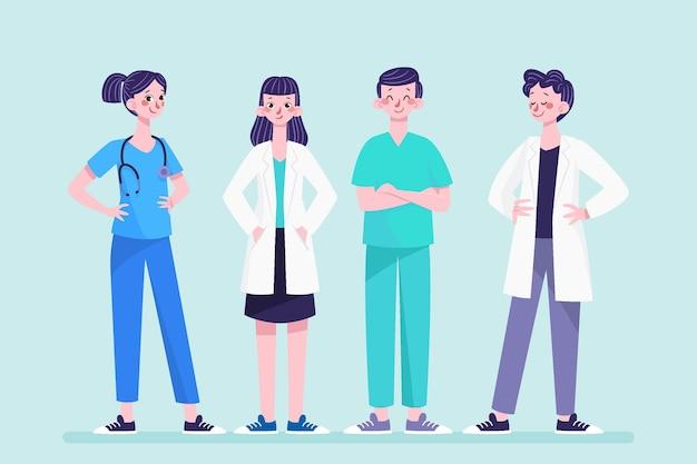 Médicos e enfermeiras de desenhos animados