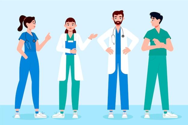 Médicos e enfermeiras de design plano orgânico
