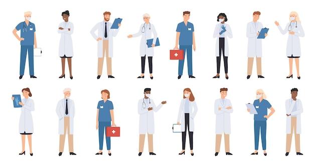 Médicos e enfermeiras de hospitais. ilustração da equipe médica.