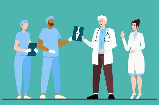 Médicos e enfermeiras de ilustração plana orgânica