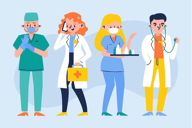 Médicos e enfermeiras desenhados à mão
