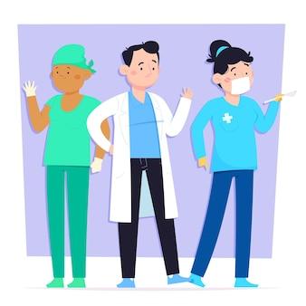 Médicos e enfermeiras em estilo cartoon