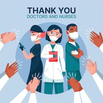 Médicos e enfermeiras obrigado